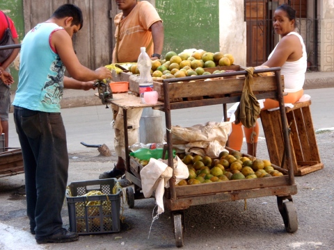 Street vendors selling fruit.