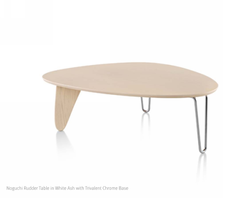 Noguch Rudder Table mixes wood and metal for a great asymmetrical look.